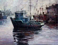 Shuvendu Sarkar | Acrylic Painting title Boat 2 on Canvas