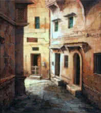 Cityscape Acrylic Art Painting title 'Laneway' by artist Shuvendu Sarkar