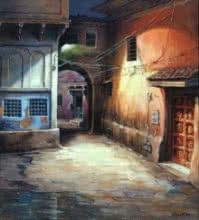 Cityscape Acrylic Art Painting title 'Laneway 2' by artist Shuvendu Sarkar