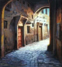 Shuvendu Sarkar | Acrylic Painting title Laneway 3 on Canvas