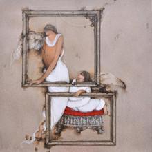 Figurative Acrylic Art Painting title Untitled 11 by artist Mintu Mallick