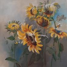 Nature Acrylic Art Painting title 'Sunshine 18 X 18' by artist Surbhi Soni