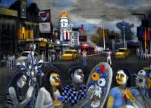 Cityscape Mixed-media Art Painting title 'They Are Going To Celebration' by artist Kalipada Purkait