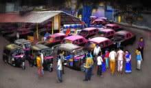 Transportation Mixed-media Art Painting title Vehicles Stand Point 2 by artist Kalipada Purkait
