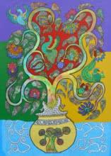 Nature Acrylic Art Painting title Prakruthi 11 by artist Neeraja Kongara