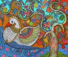 Nature Acrylic Art Painting title Prakruthi 2 by artist Neeraja Kongara