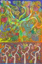 Nature Acrylic Art Painting title Prakruthi 3 by artist Neeraja Kongara