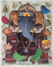 Religious Mixed-media Art Painting title Ganesha by artist G Subramanian