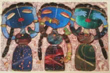Three Wise Girls | Painting by artist G Subramanian | mixed-media | Canvas