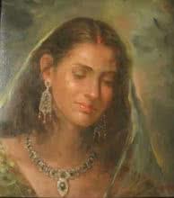 Portrait Oil Art Painting title Beauty 1 by artist Sabir Hussain