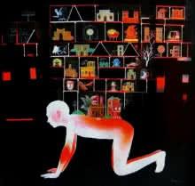contemporary Mixed-media Art Painting title Mumbai 4 by artist Satish Patil