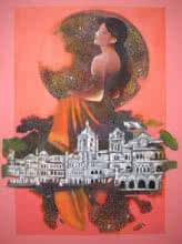 contemporary Acrylic Art Painting title Mumbai Girls 1 by artist Satish Patil