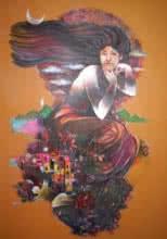 contemporary Acrylic Art Painting title Mumbai Girls 2 by artist Satish Patil