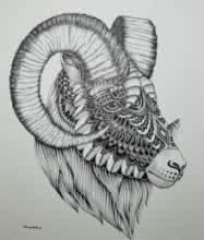 Pen Paintings | Drawing title Goat 4 on Paper | Artist Kushal Kumar