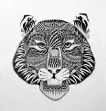Animals Pen Art Drawing title 'Tiger' by artist Kushal Kumar