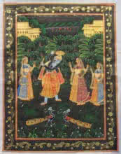 Traditional Indian art title Krishna Raas Leela on Silk - Miniature Paintings