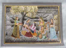 Traditional Indian art title Love Of Radha For Lord Krishna on Silk - Miniature Paintings
