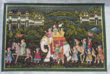 Traditional Indian art title Mughal King On Elephant With Army on Silk - Mughal Paintings