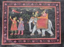 Traditional Indian art title Mughal Procession on Silk - Mughal Paintings