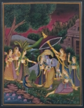 Traditional Indian art title Radha Krishna on Cloth - Miniature Paintings