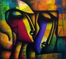 Figurative Acrylic-charcoal Art Painting title Bond Of Love Series by artist Jagannath Paul