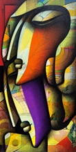 Figurative Acrylic-charcoal Art Painting title Contemporary Faces by artist Jagannath Paul