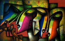 Figurative Acrylic-charcoal Art Painting title Togetherness by artist Jagannath Paul