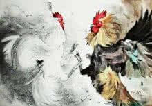 Animals Mixed-media Art Painting title 'Cock Fight' by artist Farukh Nadaf