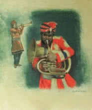 Farukh Nadaf | Acrylic Painting title Jugalbandi on Canvas | Artist Farukh Nadaf Gallery | ArtZolo.com