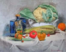 Still-life Oil Art Painting title 'Sweet Corn' by artist Farukh Nadaf