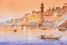 Ambadas Nagpure | Watercolor Painting title Evening At Banaras on Paper | Artist Ambadas Nagpure Gallery | ArtZolo.com