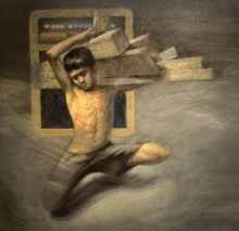 Figurative Oil Art Painting title 'Child Labour' by artist Abhijeet Patole