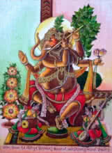 Anand Sonar Paintings | Mixed-media Painting - Lord Ganesha 2 by artist Anand Sonar | ArtZolo.com