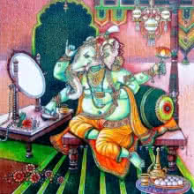 Anand Sonar | Mixed-media Painting title Shree Ganesha on Handmade Paper | Artist Anand Sonar Gallery | ArtZolo.com