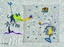 contemporary Gouache Art Drawing title 'My Fantasy World 7' by artist Avijit Mukherjee