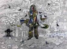 contemporary Mixed-media Art Drawing title 'Untitled 6' by artist Avijit Mukherjee