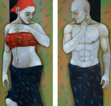 Figurative Acrylic Art Painting title Untitled by artist Asit Kumar Patnaik