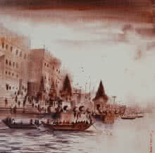 Banaras Ghat 2 | Painting by artist Anand Bekwad | acrylic | Canvas