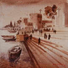 Anand Bekwad | Acrylic Painting title Banras Ghat 3 on Canvas