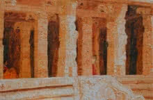 Orange Temple | Painting by artist Jaya Javeri | oil | Canvas