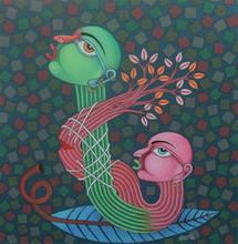 Figurative Oil Art Painting title Untitled 2 by artist Navneet Rathod
