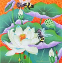Lotus Pond | Painting by artist Ramu Das | acrylic | Canvas