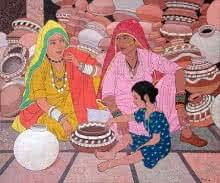 Gossip | Painting by artist Gopal Nandurkar | acrylic | Canvas