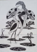 Ink Paintings | Drawing title Untitled 1 on Paper | Artist Chandrashekhar Kumavat