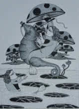 Ink Paintings | Drawing title Untitled 4 on Paper | Artist Chandrashekhar Kumavat
