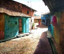 Landscape Oil Art Painting title Village by artist Pravin Pasare