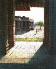 Pravin Pasare | Oil Painting title Vitthala Temple Hampi 9 on Canvas | Artist Pravin Pasare Gallery | ArtZolo.com