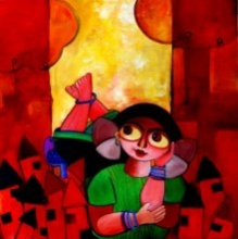 Pretty thoughts | Painting by artist Sharmi Dey | Acrylic | Canvas