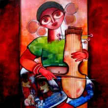 Figurative Acrylic Art Painting title 'Manganiar' by artist Sharmi Dey