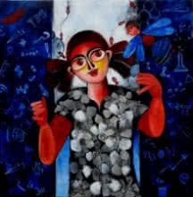 Figurative Acrylic Art Painting title 'Puzzled dream' by artist Sharmi Dey